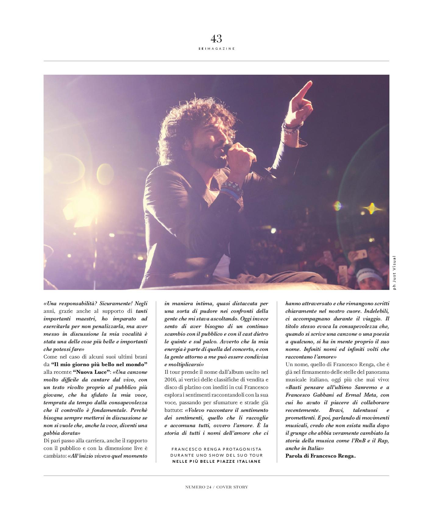 intervista a Francesco Renga sei magazine cover story scriverò il tuo nome tour ilaria rebecchi